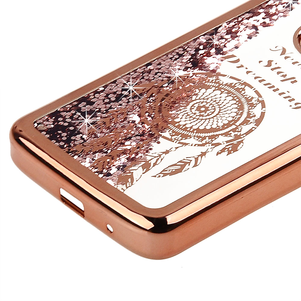 7c6833f8f057 Cube® - Motorola Moto E5 Plus   E5 Supra - Rose Gold Liquid Glitter filled  Case with Dreamcatcher Design on Rose Gold Colored Edge