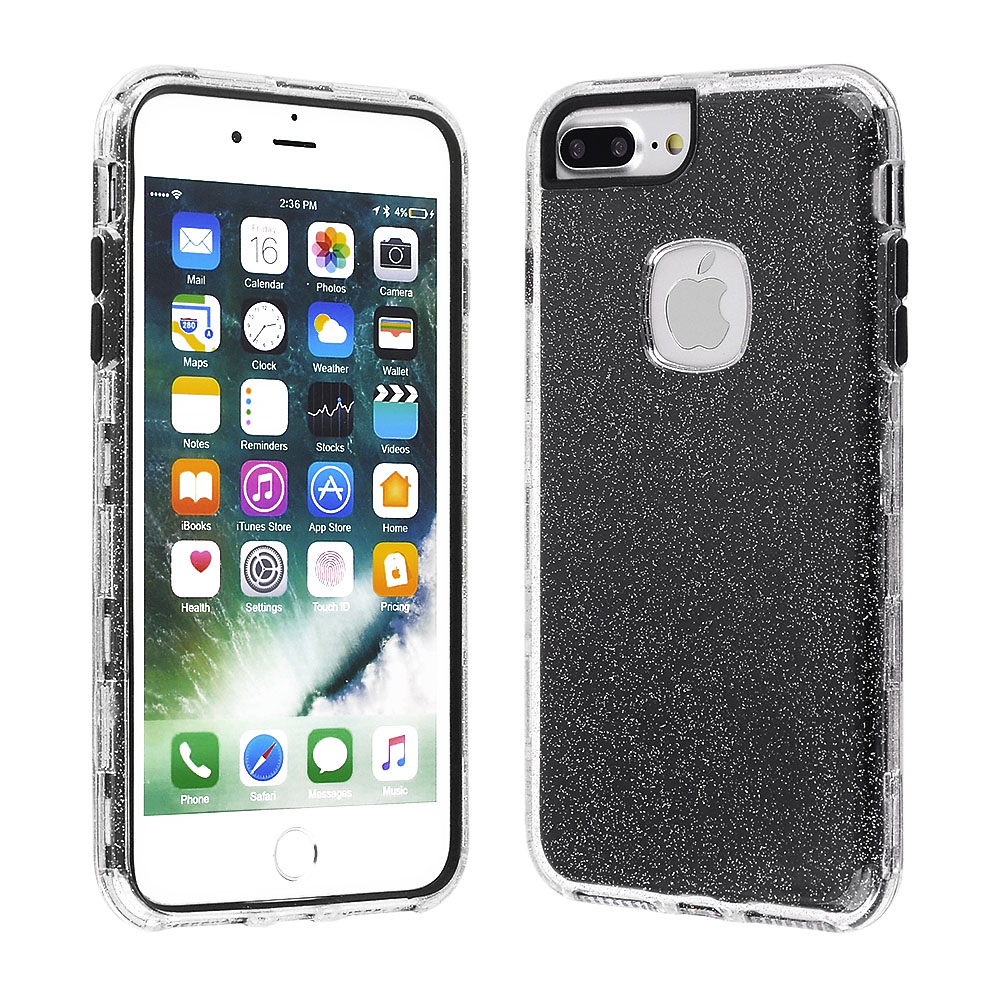 ef72d6bf86 Cube® - Apple iPhone 8 Plus / iPhone 7 Plus / iPhone 6s Plus / iPhone 6 Plus  - Clear Glitter Hard Plastic Cover with Black Silicone Inside Skin Hybrid  Case
