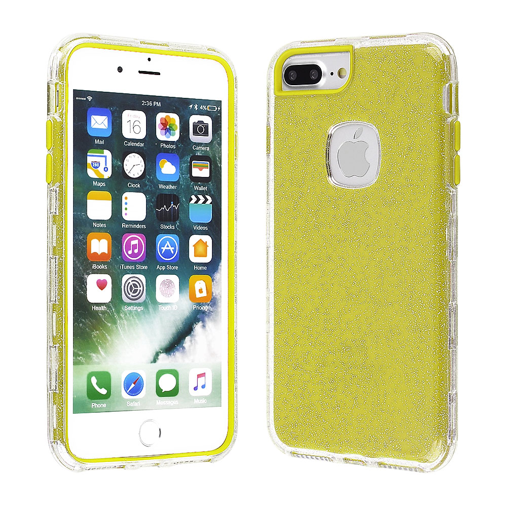 dffd459d6b Cube® - Apple iPhone 8 Plus / iPhone 7 Plus / iPhone 6s Plus / iPhone 6 Plus  - Clear Glitter Hard Plastic Cover with Lime Green Silicone Inside Skin  Hybrid ...