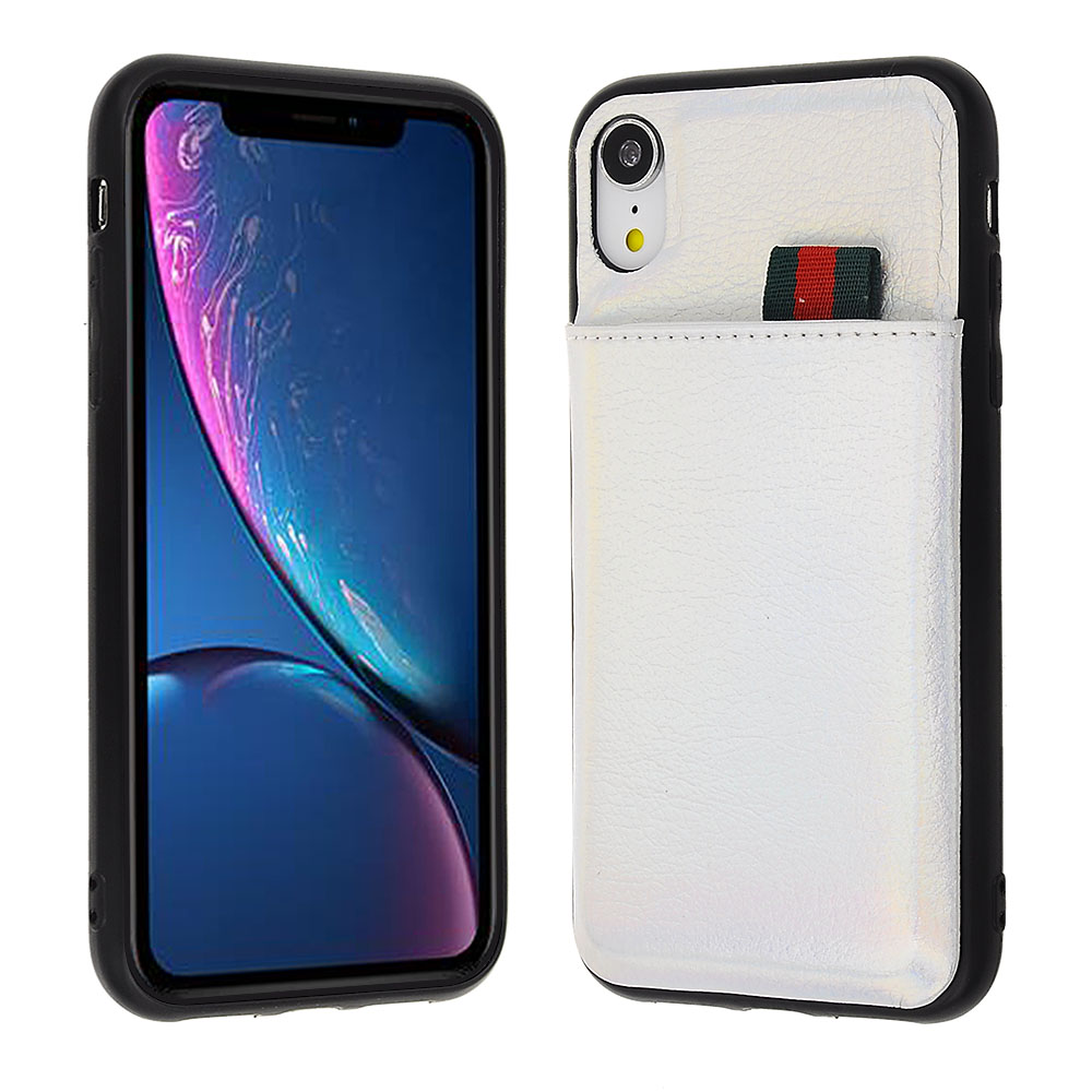 dea3948ec89 Apple iPhone XR - Silver Holographic Leather Case with Slide Out ...