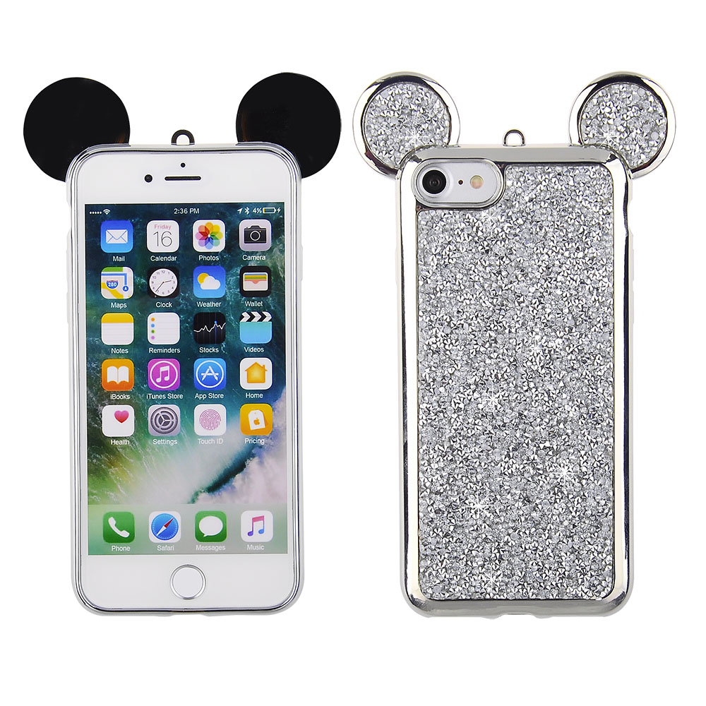 Apple IPhone 8/ IPhone 7 - Silver Rock Crystal Studded Case With