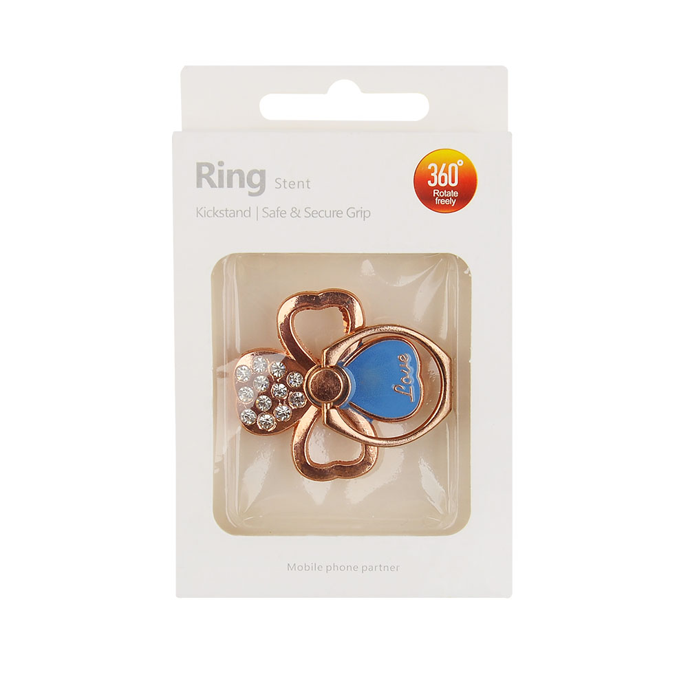 Ring Kickstand #22 - Safe & Secure Grip - Rose Gold Clover