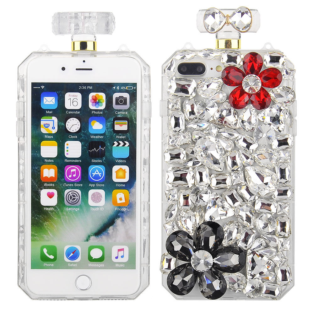c22742d526 Cube® - Apple iPhone 8 Plus / iPhone 7 Plus - Premium Clear TPU Perfume  Bottle Shape Case with Black and Red Rhinestone Flowers and Crystal Rock ...