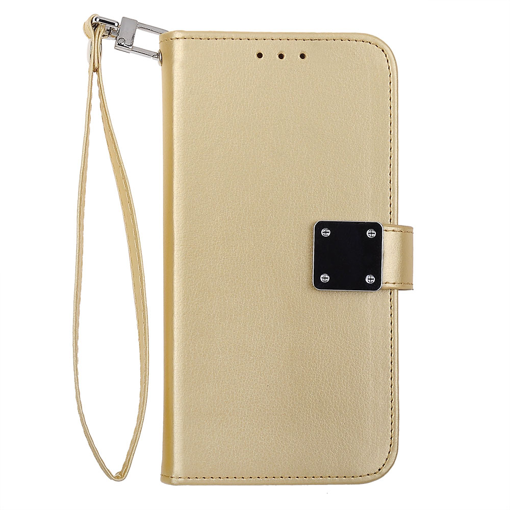 Samsung Galaxy J7 Perx Prime 2017 Halo Gold White Tailored Leather Wallet Case With Credit Card Pouch Chrome Clip