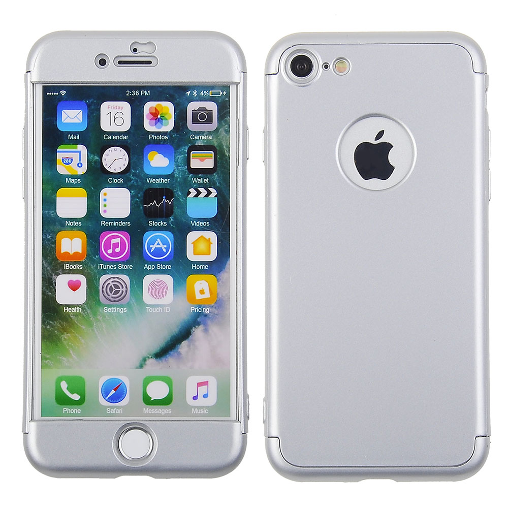 5dbd8ce3f Apple iPhone 8/ iPhone 7 - Silver 360 Protection 3 Piece Hard Cover ...